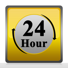 Square 24 Hour Service Sign Isolate on White Background