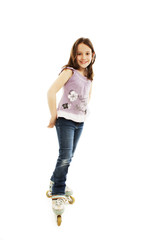 Roller skater child girl on the rollers