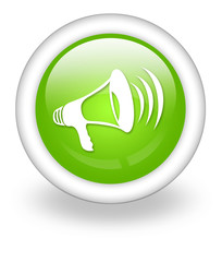 "Light Green Icon ""Megaphone / Announcement Symbol"""
