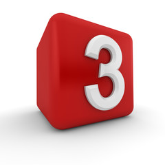 Red 3D block with number three