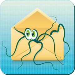 Веб-иконка - осьминог в конверте