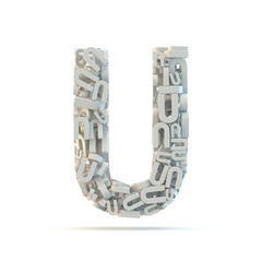 White uppercase letter U isolated on white.