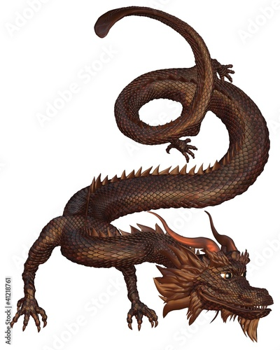 Chinese Dragon with bronze metal scales