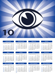 Eye sunburst 2010 calendar vector.