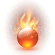 sphere with fire flames as vector background.