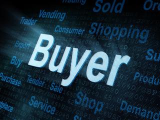 Pixeled word Buyer on digital screen