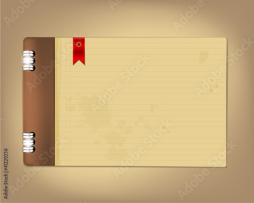 Grungy copybook with red bookmark flag. Place for your text.