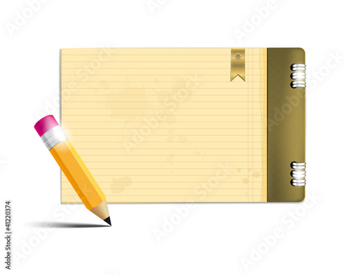 Copybook and pencil - place for your text. Vector file.