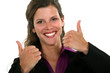Businesswoman giving two thumbs-up