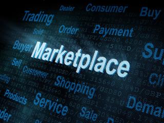 Pixeled word Marketplace on digital screen