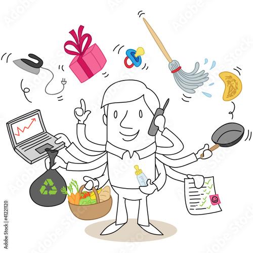 Figur, Multitaskingfähig, Haushalt, Arbeit...