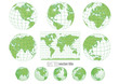 Collection of green vector globes with world map