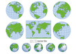 Collection of green blue vector globes with world map