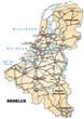 Inselkarte der Beneluxländer mit Autobahnen