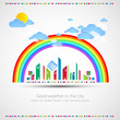 Funny city theme background with rainbow.
