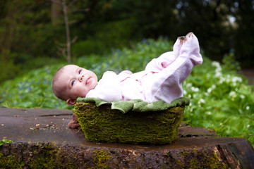 baby laid in moss basket outdoors