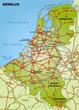 Autobahnkarte der Beneluxländer mit Nachbarländern