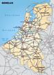 Landkarte der Beneluxländer mit Nachbarländern und Autobahnen