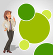 Green template with cartoon woman. Presentation screen.