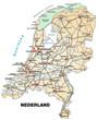 Inselkarte der Niederlande mit Verkehrsnetz und Hauptstädten