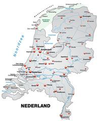 Inselkarte der Niederlande mit Hauptstädten in grau