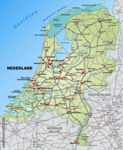 Verkehrskarte der Niederlande mit Nachbarländern