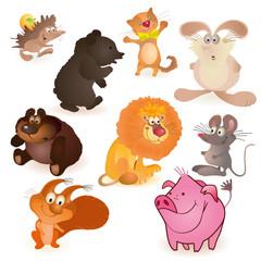 Set of nine  funny animals