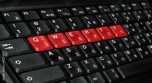 qwerty letters colored in red