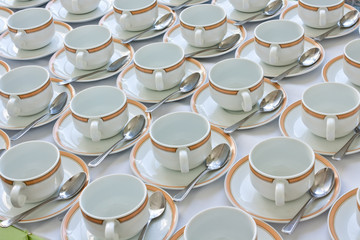 Many rows of coffee cup