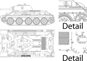 Detailed vector illustration of T34 - Russian tank