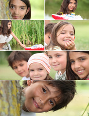 Montage of kids playing in the park