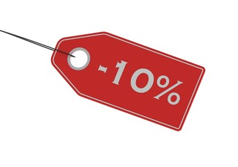 Sale tag of 10 percent off on pure white background