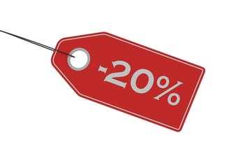 Sale tag of 20 percent off on pure white background