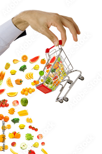Food products flying out of shopping cart