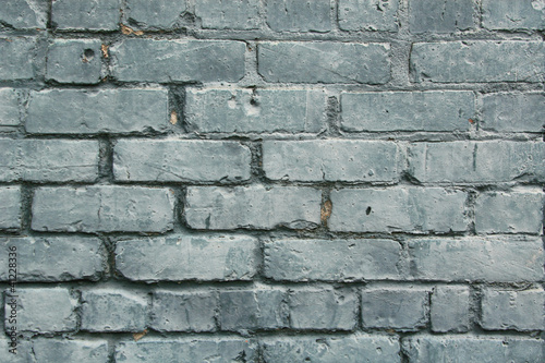 Blue Patina Paint on Bricks