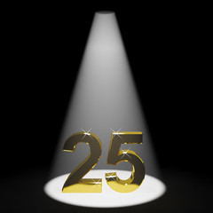 Gold 25th 3d Number Representing Anniversary Or Birthday