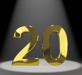 Gold 20th Or Twenty 3d Number Representing Anniversary Or Birthd