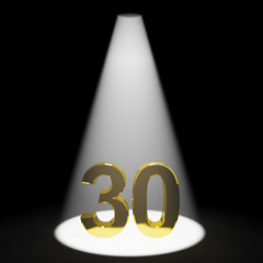 Gold 30th Or Thirty 3d Number Representing Anniversary Or Birthd