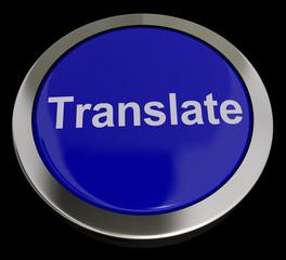 Translate Button In Blue Showing Online Translator