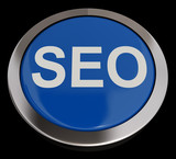 SEO Button In Blue Showing Internet Marketing And Optimization