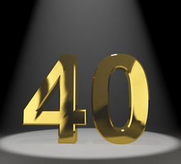Gold 40th Or Forty 3d Number Representing Anniversary Or Birthda