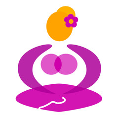 Wellness female sitting in yoga pose symbol