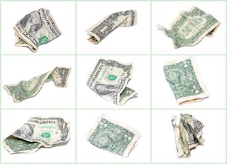 Crumpled dollar collage