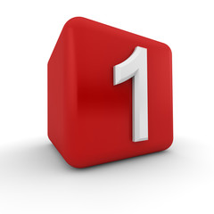 Red 3D block with number one