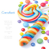 Fototapety Colorful lollipops and smarties