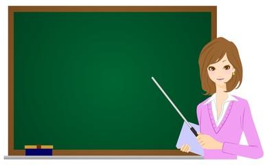 女性 教師 黒板