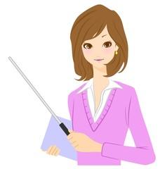 女性 ビジネスウーマン 教師 指示棒