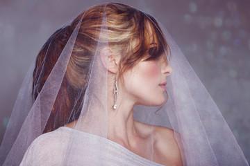 modern bride with veil