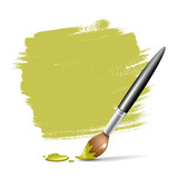 Fototapety Paint brush. green space your text, vector