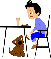 boy feeding his dog under the table